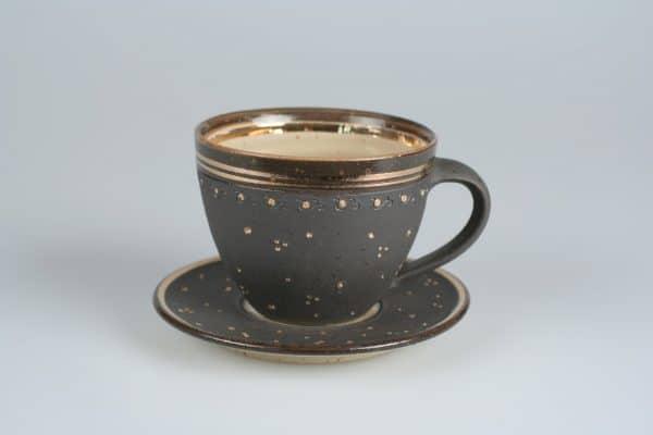 Töpferei Drehwurm Cappuccinotasse Tasse Gold mit Unterteller