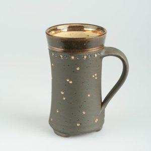 Töpferei Drehwurm Kakaotasse gold