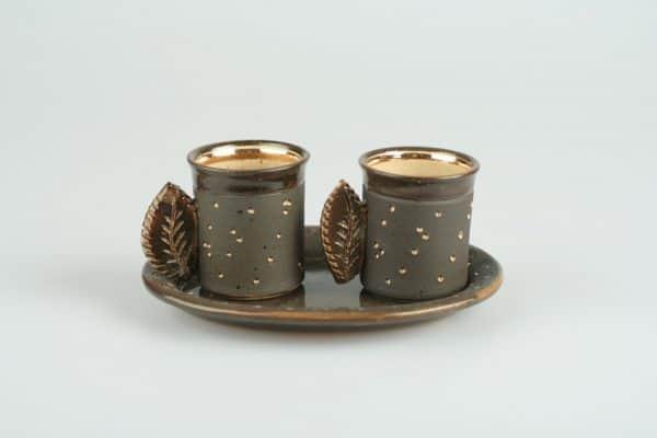 Töpferei Drehwurm Espressogedeck gold