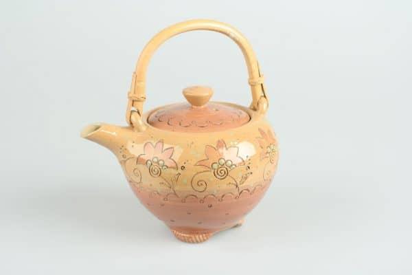 Töpferei Drehwurm Teekanne mit Bambushenkel orange