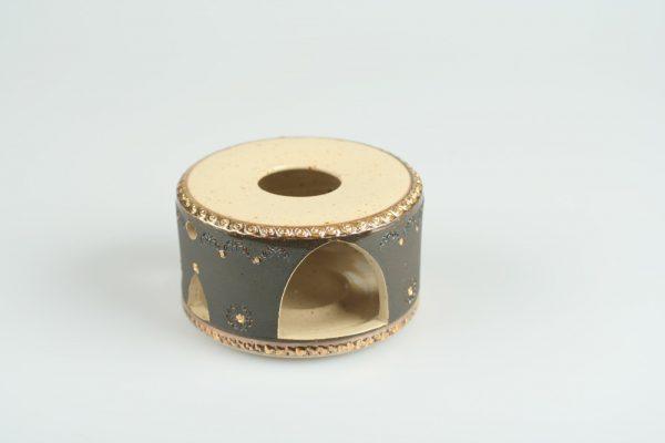Töpferei Drehwurm Stövchen gold