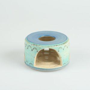 Töpferei Drehwurm Stövchen blau