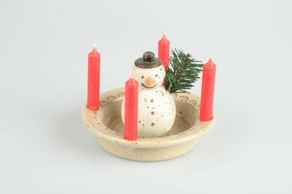 Töpferei Drehwurm Adventsteller mit Kerzen