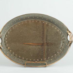 Töpferei Drehwurm ovale Platte gold