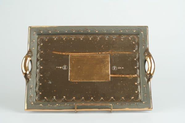 Töpferei Drehwurm rechteckige Platte schwarz gold
