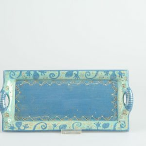 Töpferei Drehwurm rechteckige Platte blau