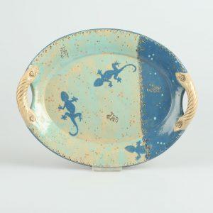 Töpferei Drehwurm ovale Platte blau