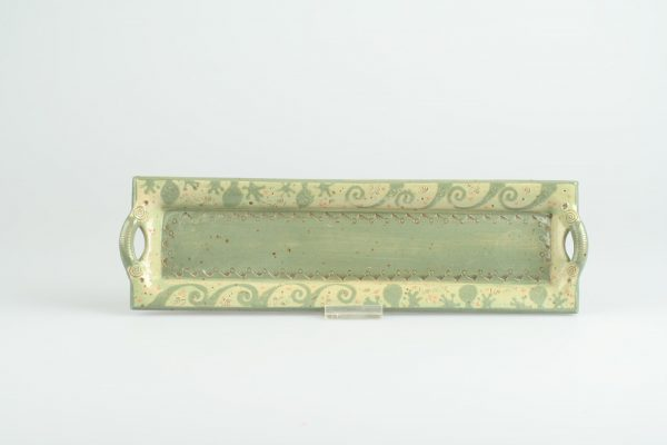 Töpferei Drehwurm rechteckige Platte grün