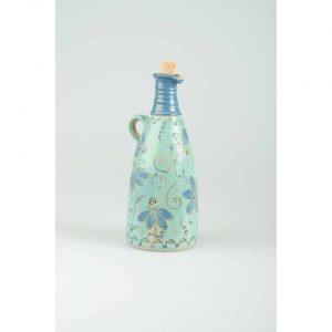Töpferei Drehwurm Flasche gerade blau