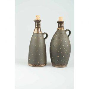 Töpferei Drehwurm Flasche schwarz gold