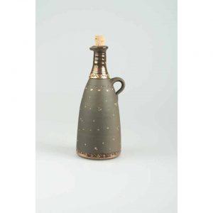 Töpferei Drehwurm Flasche gerade schwarz gold