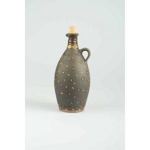 Töpferei Drehwurm Flasche bauchig schwarz gold