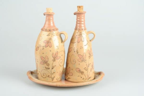Töpferei Drehwurm Flaschen mit ovaler Platte