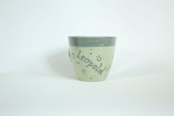 Töpferei Drehwurm Kindertasse mit Namen Tasse
