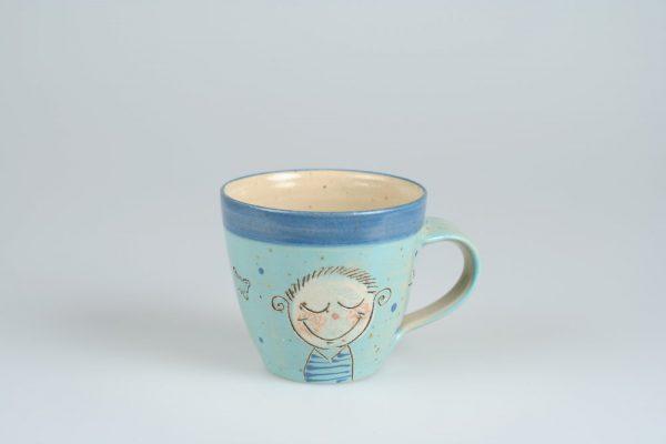 Töpferei Drehwurm Kindertasse Tasse mit Gesicht blau