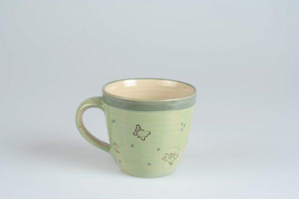 Töpferei Drehwurm Kindertasse Tasse mit Gesicht grün