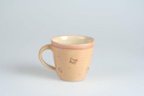 Töpferei Drehwurm Kindertasse Tasse mit Gesicht orange