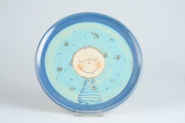 Töpferei Drehwurm Teller Kinderteller mit Gesicht blau
