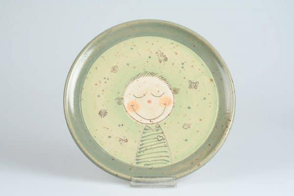 Töpferei Drehwurm Teller Kinderteller mit Gesicht grün