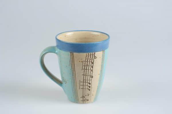 Töpferei Drehwurm Tasse Musik Noten blau