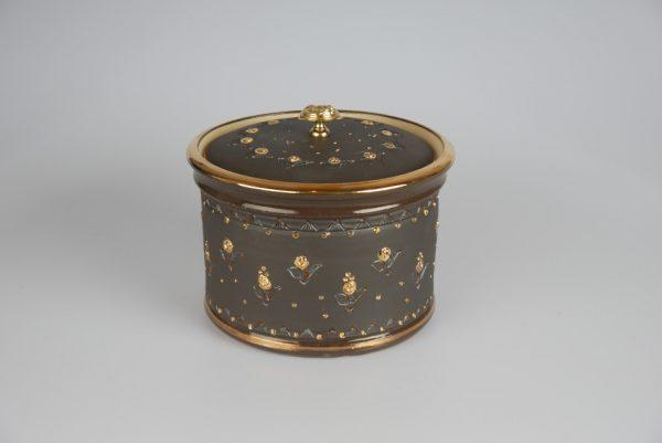 Töpferei Drehwurm Keksdose gold