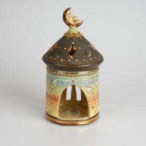Töpferei Drehwurm Lichterhaus schwarz gold