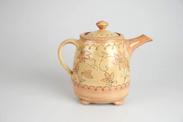 Töpferei Drehwurm Teekanne orange