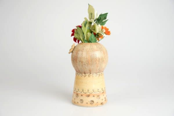 Töpferei Drehwurm Vase mit Gesicht