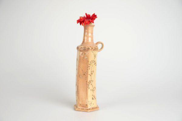 Töpferei Drehwurm Vase sechseckig orange