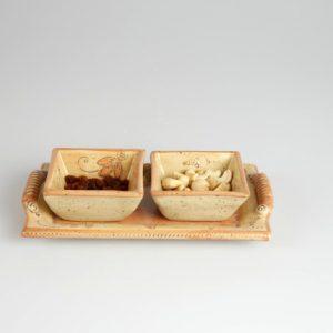 Töpferei Drehwurm Antipastiplatte mit Schälchen orange