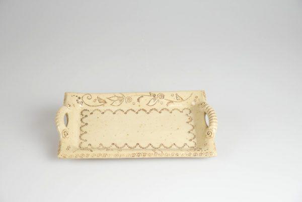 Töpferei Drehwurm Servierplatte rechteckig weiß
