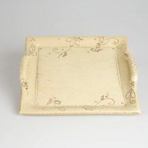 Töpferei Drehwurm Servierplatte quadratisch weiß