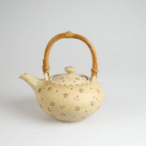Töpferei Drehwurm Teekanne weiß gold