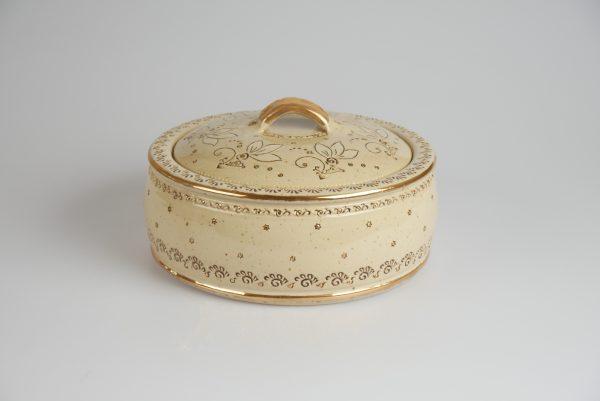 Töpferei Drehwurm Schmuckdose Keksdose weiß gold