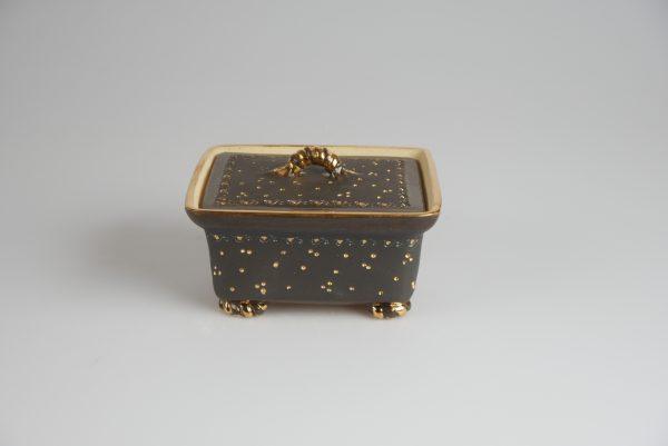 Töpferei Drehwurm Butterdose schwarz gold