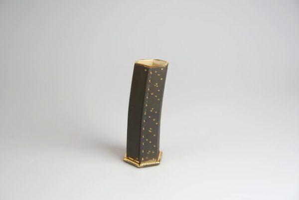 Töpferei Drehwurm Vase schwarz gold