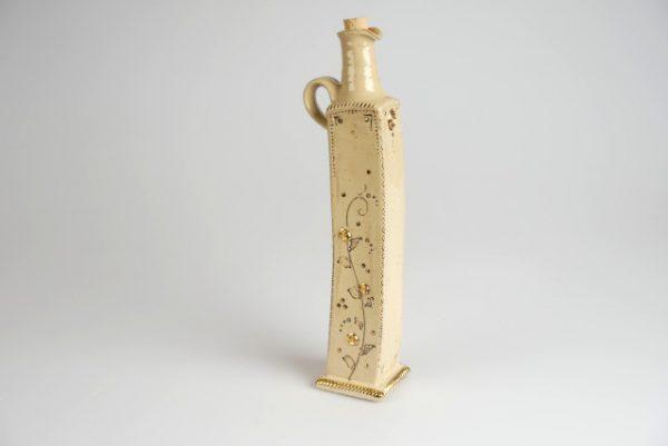 Töpferei Drehwurm Flasche weiß gold