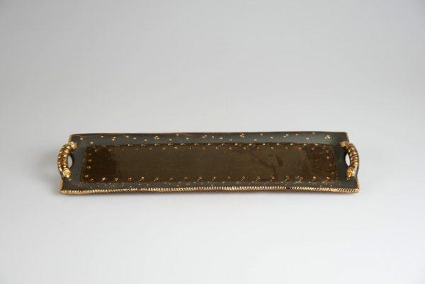 Töpferei Drehwurm Servierplatte schwarz gold