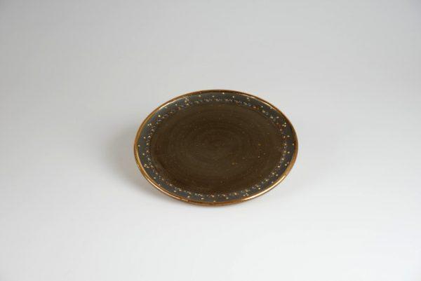 Töpferei Drehwurm Teller schwarz gold