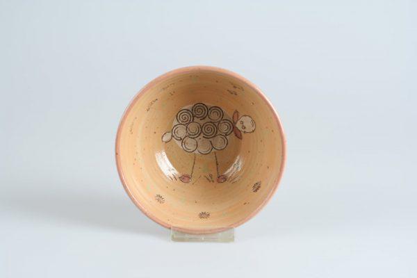 Töpferei Drehwurm Schale mit Schaf orange