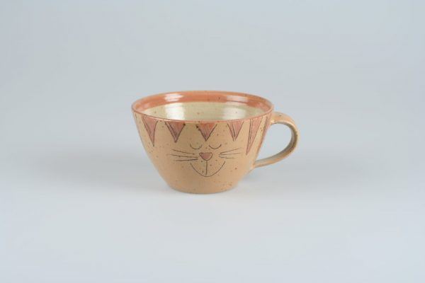 Töpferei Drehwurm Tasse mit Katze orange