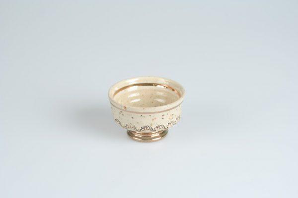 Töpferei Drehwurm Teeschale weiß mit Gold