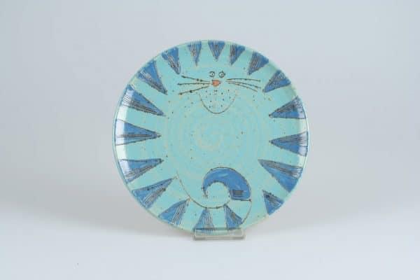 Töpferei Drehwurm Teller mit Katze blau