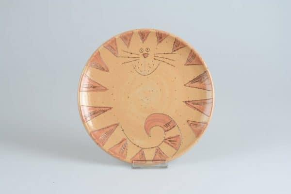 Töpferei Drehwurm Teller mit Katze orange